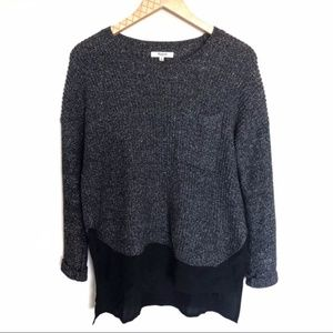Madewell Gray Colorblock Knit Pullover Sweater